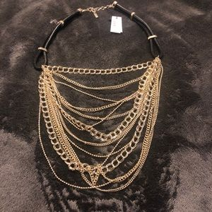 Genuine leather and silver necklace from Bebe